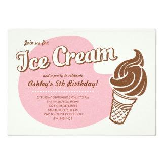 Pink Retro Ice Cream Birthday Party Invitations