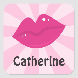 Pink retro lipstick lips name stickers/tags