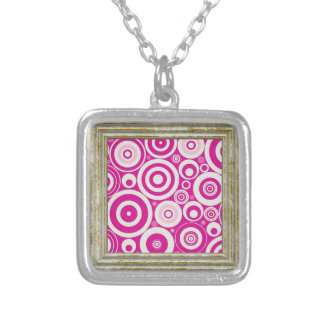 Pink Retro Pattern Silver Plated Necklace