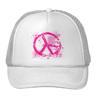 PINK RETRO PEACE SIGN HAT