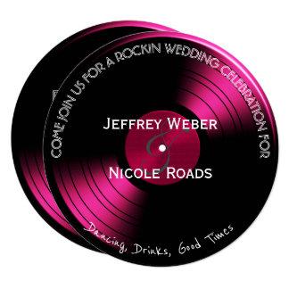 Pink Retro Rock n Roll Vinyl Record Wedding Card