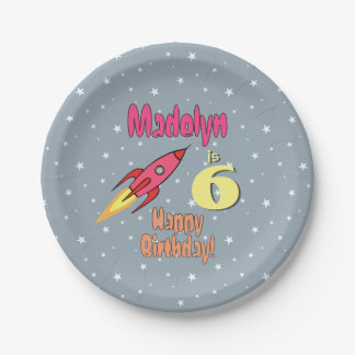 Pink Retro Rocketship Personalised Birthday Girl Paper Plate