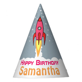 Pink Retro Rocketship Personalised Birthday Girl Party Hat
