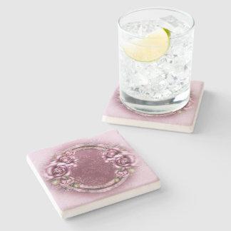 Pink Retro Roses Stone Coaster