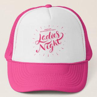 Pink Retro Script Personalized Bachelorette Party Trucker Hat
