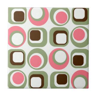 Pink Retro Squares & Circles Small Square Tile