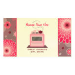 Pink Retro Stove Flowers & Dots Chef Caterer Pack Of Standard Business Cards