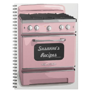 Pink Retro Stove Recipe Book Journal