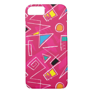 Pink Retro Vintage 80's Style Pattern iPhone 7 Case