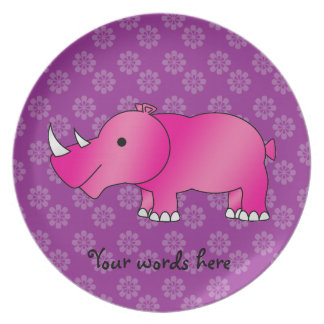 Pink rhino purple flowers plate