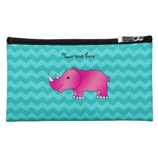 Pink rhino turquoise chevrons cosmetic bag