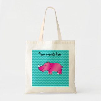Pink rhino turquoise chevrons tote bag