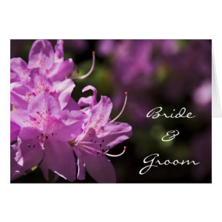 Pink Rhododendron Blossoms Wedding Invitation Card