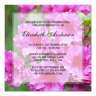 Pink Rhododendron Flowers 80th Birthday Party 13 Cm X 13 Cm Square Invitation Card