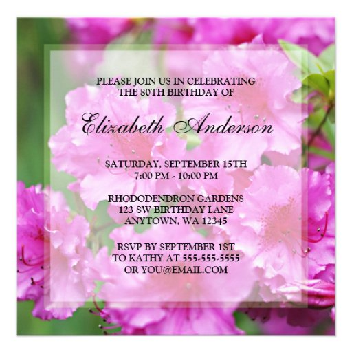 Pink Rhododendron Flowers 80th Birthday Party Personalized Announcements