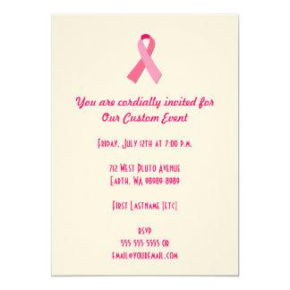 Pink Ribbon 13 Cm X 18 Cm Invitation Card