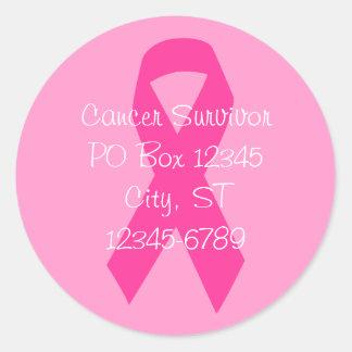Pink Ribbon Address Round Sticker