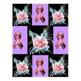 Pink Ribbon and Lavender flower for Breast Cancer Postcard