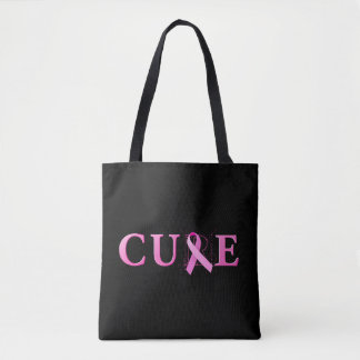 Pink ribbon and word CURE. Tote Bag