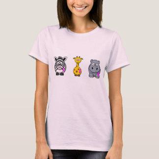 Pink Ribbon animal design T-Shirt