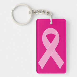 Pink ribbon breast cancer awareness keychains