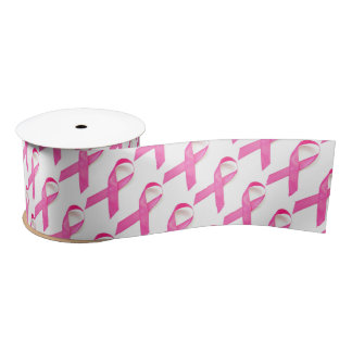 Pink Ribbon Breast Cancer Awareness Satin Ribbon