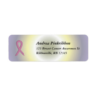 Pink Ribbon Breast Cancer colorful radial Avery La Return Address Label