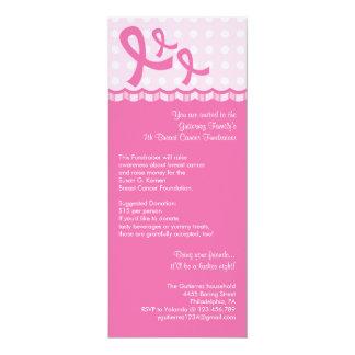"Pink Ribbon Breast Cancer Event Invitation 4"" X 9.25"" Invitation Card"