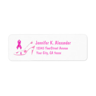 Pink Ribbon Breast Cancer Shoe Return Address Label