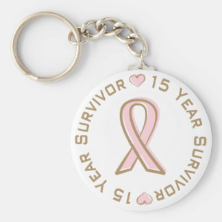 Pink Ribbon Breast Cancer Survivor 15 Years Basic Round Button Key Ring