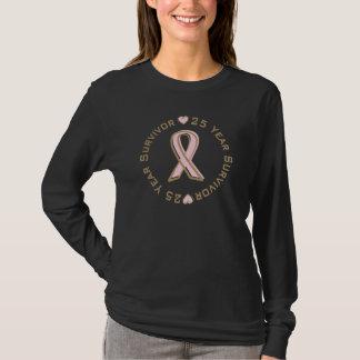 Pink Ribbon Breast Cancer Survivor 25 Years T-Shirt