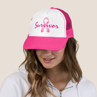Pink Ribbon Breast Cancer Survivor Trucker Hat