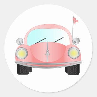 Pink Ribbon Bug Round Sticker