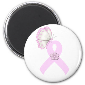 Pink Ribbon Butterfly 6 Cm Round Magnet