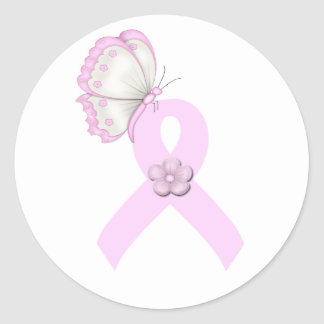 Pink Ribbon Butterfly Round Sticker