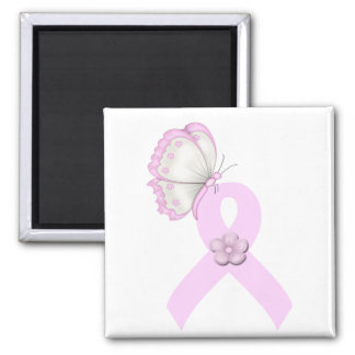 Pink Ribbon Butterfly Square Magnet