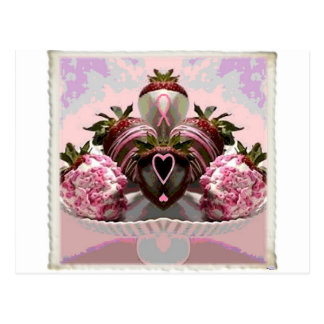 Pink Ribbon Chocolate Dipped Strawberries Postcards