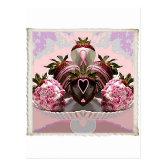 Pink Ribbon Chocolate Dipped Strawberries Post Cards