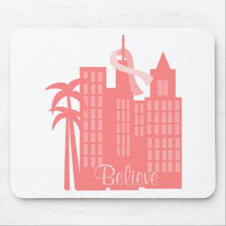 Pink Ribbon Cityscape Mouse Pad