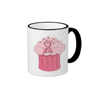 Pink Ribbon Cupcake Breast Cancer Ringer Mug