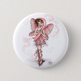 Pink Ribbon Fairy 6 Cm Round Badge