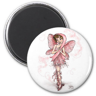 Pink Ribbon Fairy 6 Cm Round Magnet