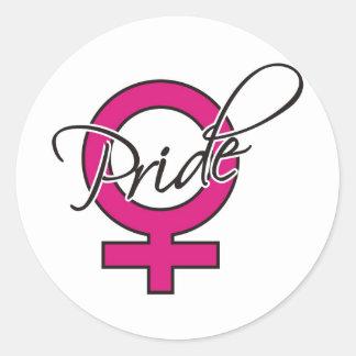 Pink Ribbon Female Pride Round Sticker
