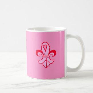 Pink Ribbon Fleur de Lis Basic White Mug