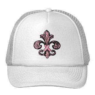 Pink Ribbon Fleur de lis Trucker Hats