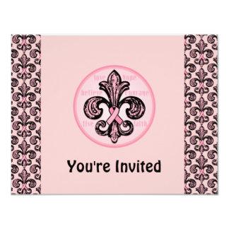"Pink Ribbon Fleur de lis 4.25"" X 5.5"" Invitation Card"
