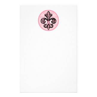 Pink Ribbon Fleur de lis Customised Stationery