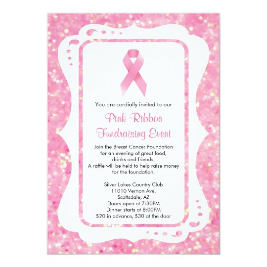pink ribbon fundraising event invitation. Black Bedroom Furniture Sets. Home Design Ideas