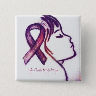 Pink Ribbon Girl 15 Cm Square Badge