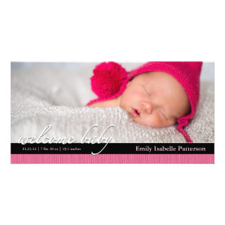 Pink Ribbon Girl Baby Birth Announcement Photocard Custom Photo Card